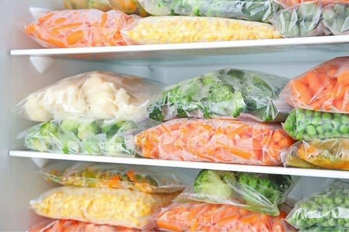 fresh veggies in the freezer